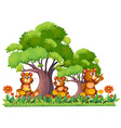 Three little bears in the garden vector image vector image