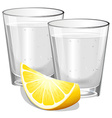 Two glasses of vodka with lemon vector image