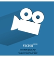 Video-camera Flat modern web button with long vector image vector image