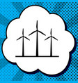 wind turbines sign black icon in bubble vector image vector image