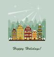 winter village greeting card vector image