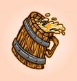 wooden vintage glass beer vector image vector image