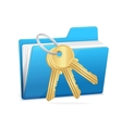 Yellow computer folder and key vector image