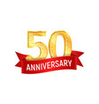 fiftieth year anniversary with red ribbon vector image