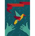 Hand and origami hummingbird vector image
