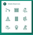 9 striped icons vector image vector image