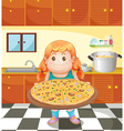 A fat young woman with a pizza vector image vector image