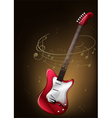A red guitar with musical notes vector image vector image