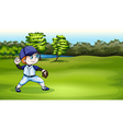 A young baseball player at the field near the vector image vector image