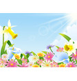abundance of blooming flowers at spring time vector image vector image