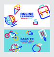 back to school online learning layout template vector image vector image