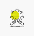 battle emblem viking warrior swords line icon vector image vector image
