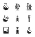 biology flask icon set simple style vector image vector image