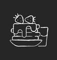 breakfast chalk white icon on dark background vector image vector image