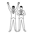 businessmen with hands up in black and white vector image vector image