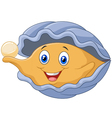 Cartoon oyster holding pearl vector image vector image