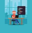 coding programming script man with beard t-shirt vector image