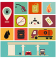 collection of fuel station icons vector image vector image