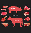 different cuts cow and pork meat vector image vector image