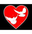 doves in heart vector image