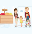family shopping grocery vector image vector image