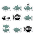 fish on plate skeleton icons vector image