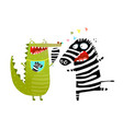 fun crocodile eating zebra cartoon vector image vector image