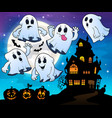 ghosts near haunted house theme 4 vector image vector image
