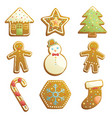 gingerbread cookies icons vector image