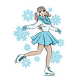 girl in gloves and scarf skater is skating vector image vector image