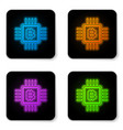 glowing neon cpu mining farm icon isolated on vector image vector image