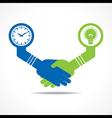 handshake between men having idea and time vector image vector image