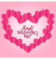 happy valentines day mini pink heart around pink b vector image