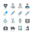 Healthcare icons reflection vector image vector image