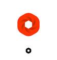 hexagon box logo web icon red diaphragm photo vector image vector image