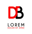 initial letter db with red black and has rounded vector image vector image