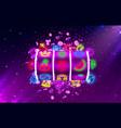 jackpot slots neon icons casino slot sign machine vector image vector image