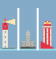 lighthouses banner flat searchlight towers vector image vector image