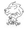 lion head with lettering king vector image vector image