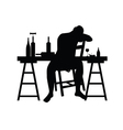 man siting and drink alcohol silhouette vector image vector image