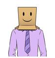 man with box happy emoji on head pop art vector image vector image