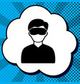 man with sleeping mask sign black icon in vector image