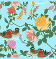 mandarin ducks and peonies vector image