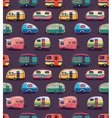 mid fifties cartoonish campers pattern vector image