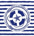 Nautical emblem with lifebuoy and starfish vector image