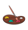 paint brush and palette vector image vector image