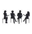 people black silhouettes at business training sit vector image