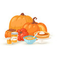 pumpkins food dishes isolated vector image vector image