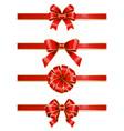 ribbon bows made red satin set knots vector image vector image