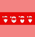 santa claus hat with beard set christmas santa vector image